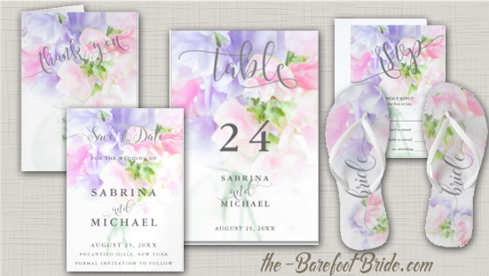 Floral Sweet Pea Chic Wedding Invitation Suite