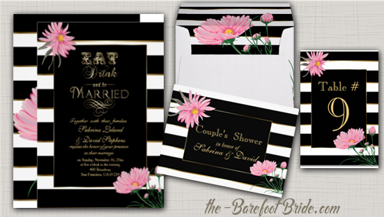 Wedding Black Stripes Pink Chrysanthemums Wedding Invitation Suite