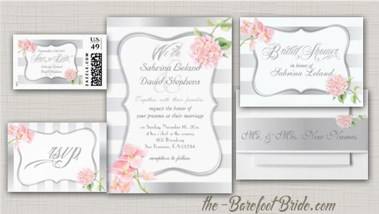 Silver Striped Pink Hydrangeas Wedding Invitation Suite
