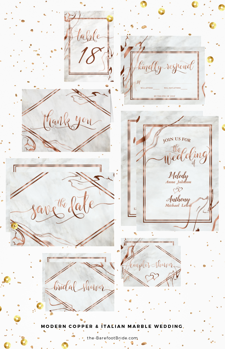 Modern Copper & Italian Marble Wedding Inspired Invitations