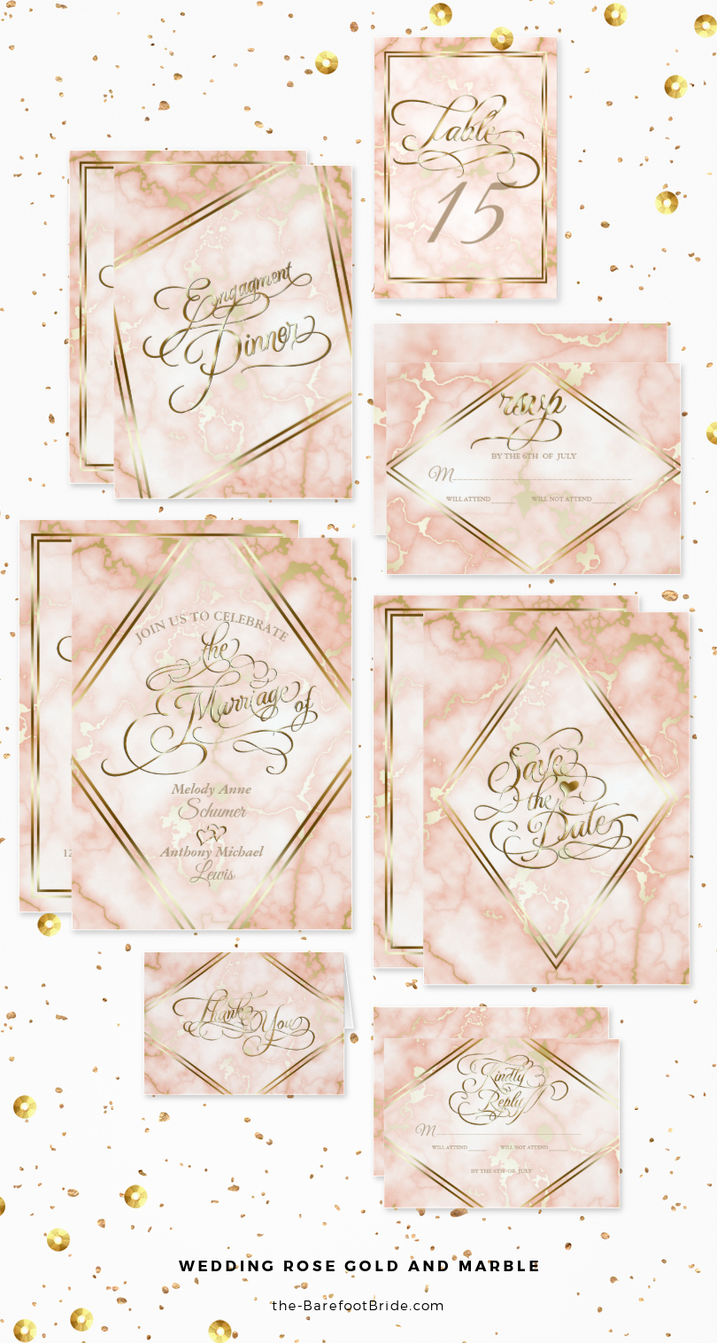 Rose Gold and Marble Wedding Invitation Suite