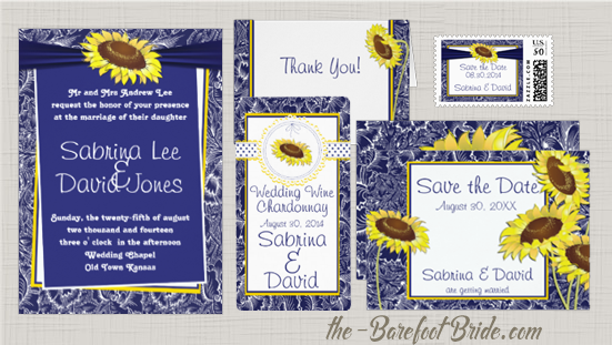 Blue and Yellow Sunflowers Wedding Invitation Suite