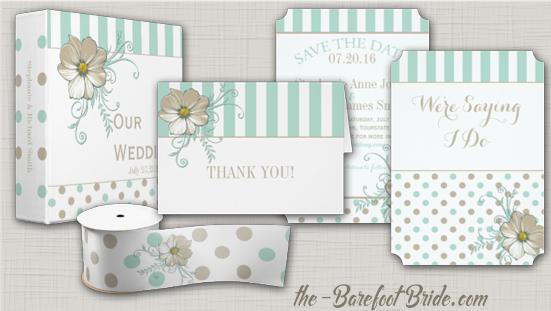 Wedding Invitation Suite | MINT BISQUE DOTS STRIPES by The-BarefootBride.com