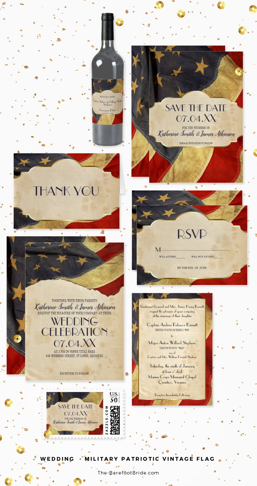 Military Patriotic Wedding Invitation and Stationery Suite