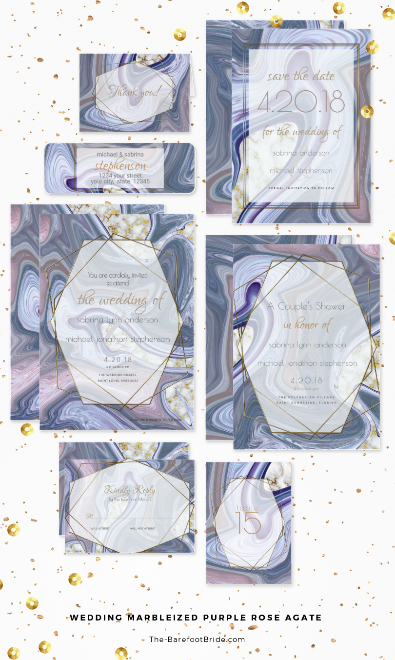 Purple Marbleized Wedding Invitations