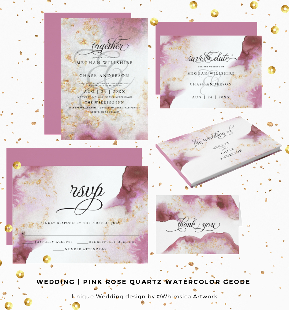 WEDDING Invitations | Pink Rose Quartz Watercolor Geode