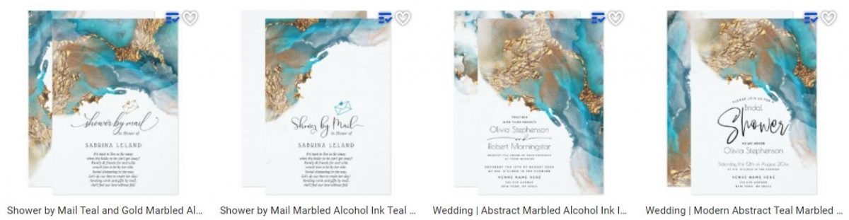 Teal and Gold Marbled Alcohol Ink Wedding Suite